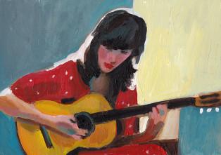 מנגנת בגיטרה